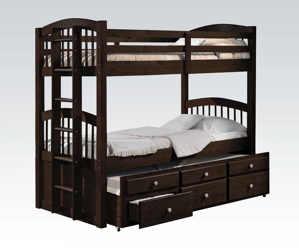 40000 Micah Twin/Twin Bunk Bed W/Trundle & 3 Drawers Espresso Finish
