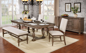 ROESELARE / 6PC /DINING TABLE SET 4 SIDE CHAIR & BENCH