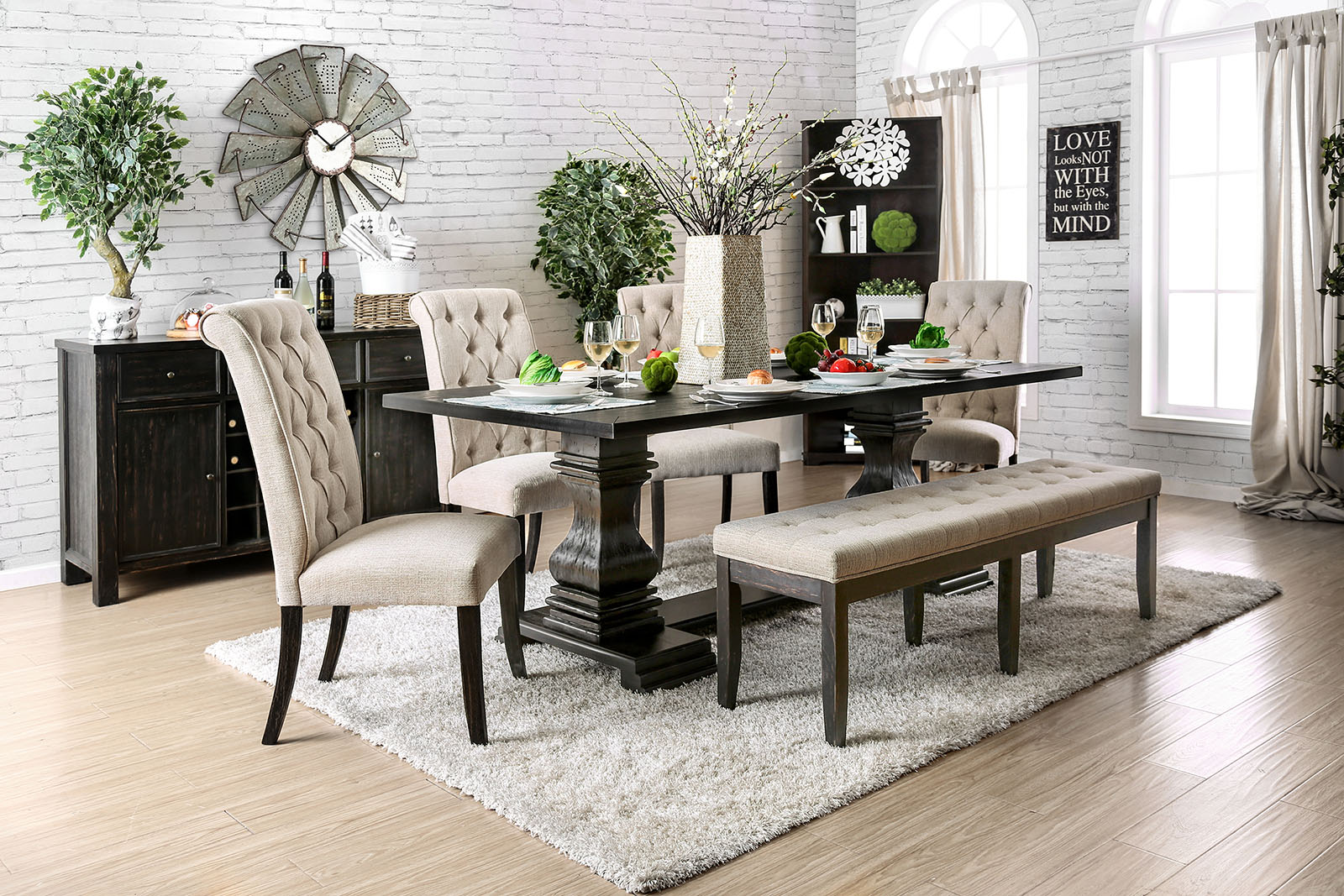 NERISSA 6PC DINING TABLE SET 4 SIDE CHAIR BENCH