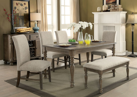 SIOBHAN II / 6PC /DINING TABLE SET 4 SIDE CHAIR & BENCH