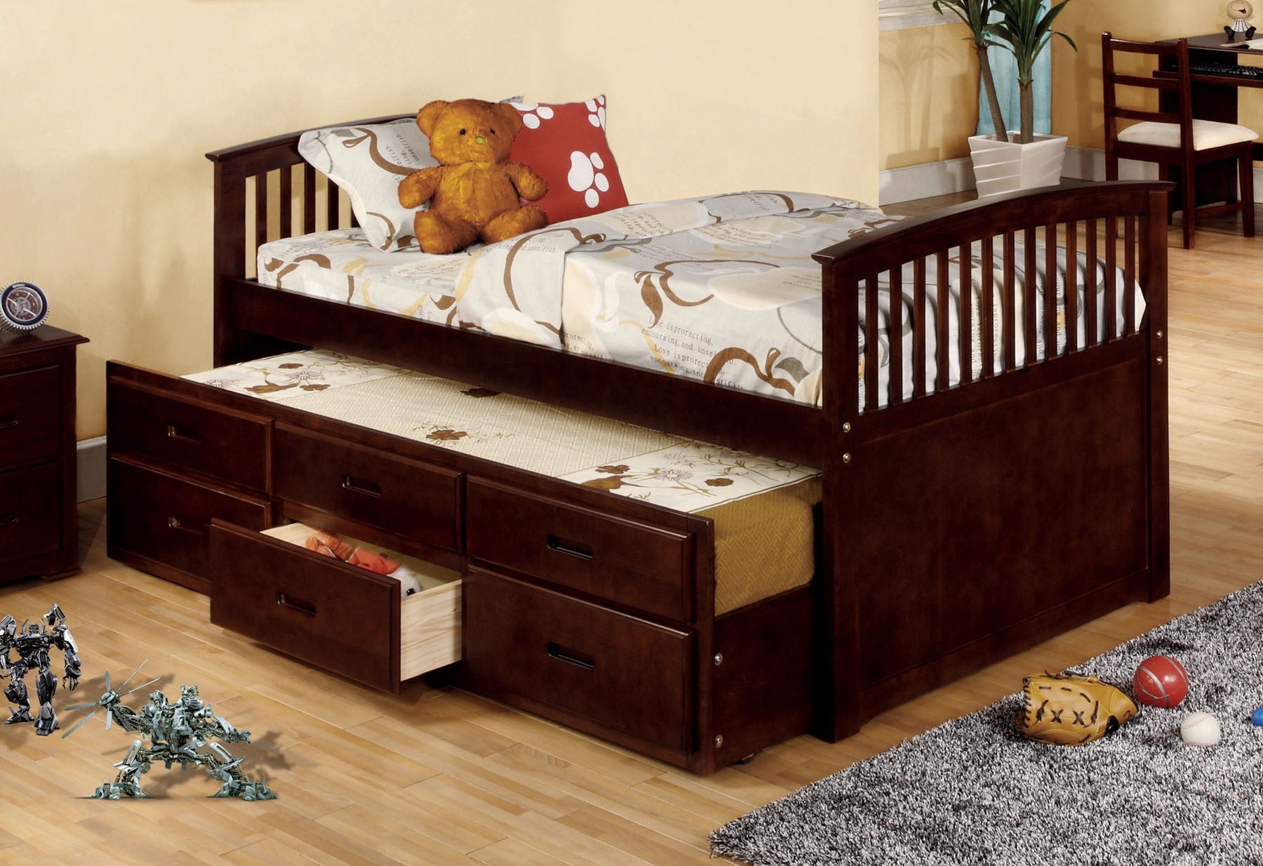 BELLA II BED W/ Trundle & 3 Drawers CM7035CH