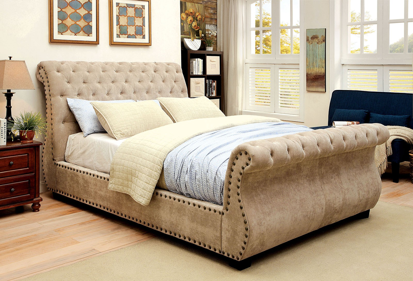 NOEMI Sleigh Bed w/ Deep Button Tufting /  CM7127