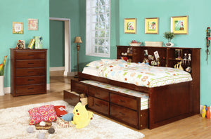 HERVEY BED / Storage on Both Sides Bookcase Headboard CM7583