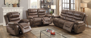 3 PCs Dark Coffee Breathable Leatherette Recliner Loveseat Sofa Set