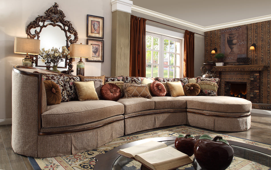 Leon HD1627 Rounded Wood Trim Sectional chaise Sofa