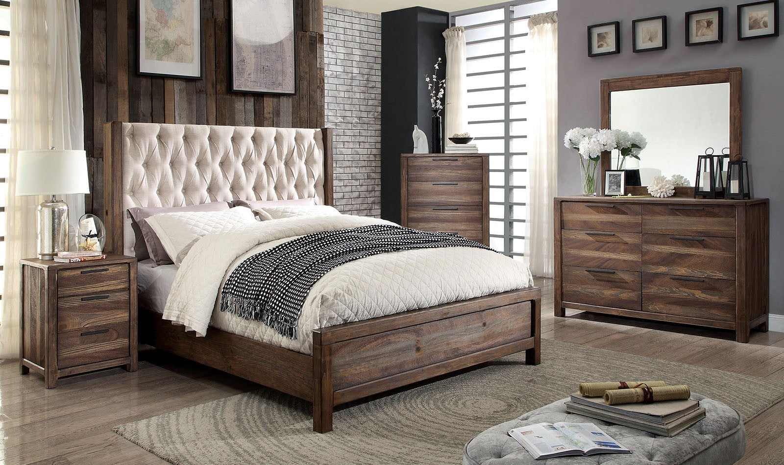 HUTCHINSON BED/4PC  QUEEN BEDROOM SET /    CM7577