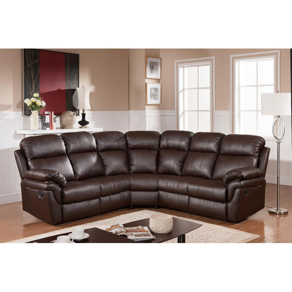 Frankfurt Sectional Sofa with Two Recliners /8005 Brown
