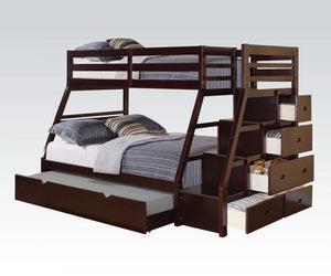 Jason Twin/Full Bunk Bed with Storage Ladder and Trundle, Espresso Finish /37015A