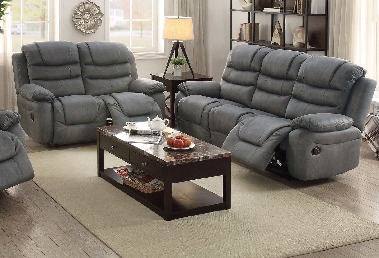 3 PCs Slate Grey Breathable Leatherette Recliner Loveseat Sofa Set