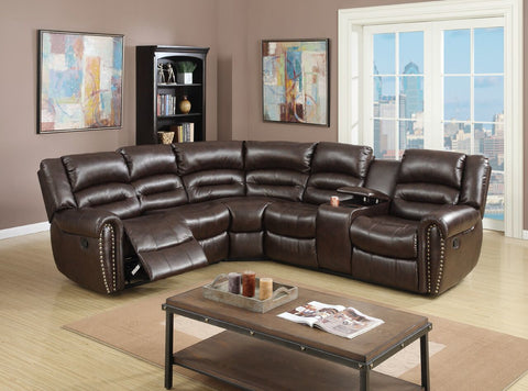 Espresso Bonded Leather Motion Sectional / F6744