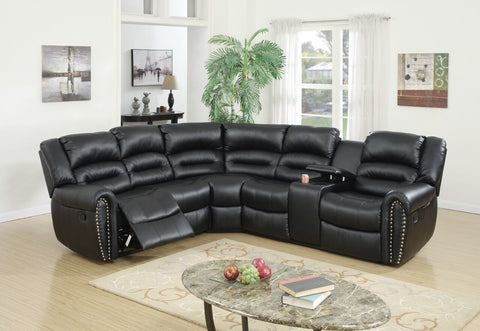 Black Bonded Leather Motion Sectional / F6743