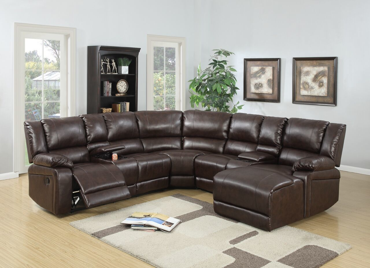 Espresso Bonded Leather Motion Sectional / F6746