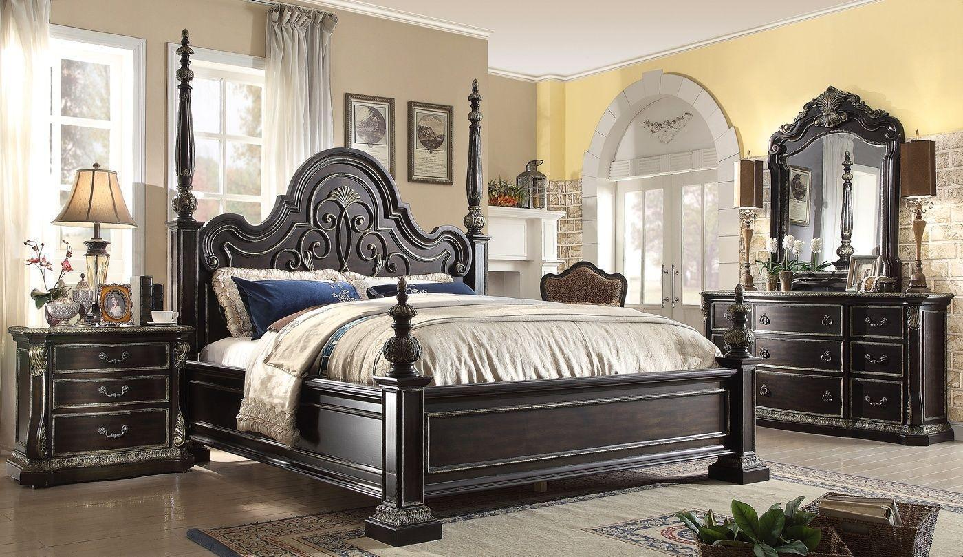 McFerran B5189/ Ebony Gothic / 4pc Poster Bedroom Set 3Pcs Carved Wood