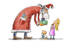 santa clause giving gifts to kids