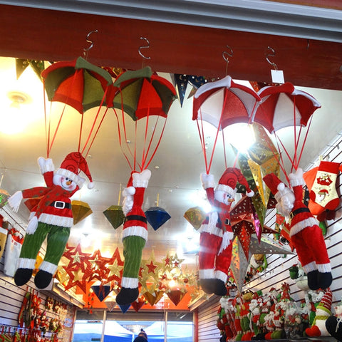 Image of Parachuting Santa Claus/Snowman Ceiling Christmas Decorations - Hot Gifts For Christmas