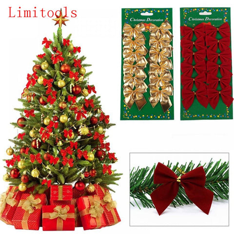Image of 12PCS Pretty Bow Christmas Tree Decorations - Hot Gifts For Christmas