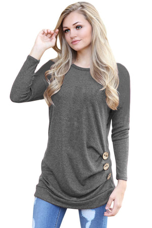 Gray Buttoned Side Long Sleeve Spring Autumn Womens Top