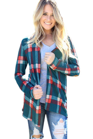 Green Suede Elbow Patch Long Sleeve Plaid Cardigan