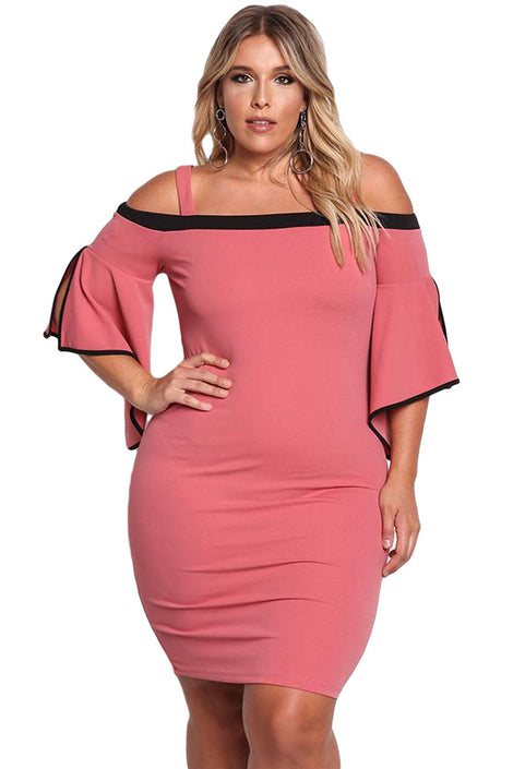 Pink Plus Size Cold Shoulder Bell Sleeve Bodycon Dress
