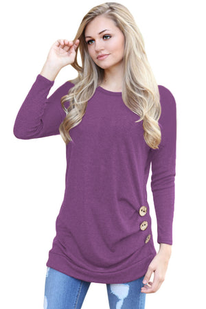Purple Buttoned Side Long Sleeve Spring Autumn Womens Top
