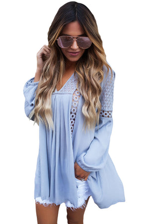 Blue Crochet Lace Trim Relaxed Long Sleeve Tunic