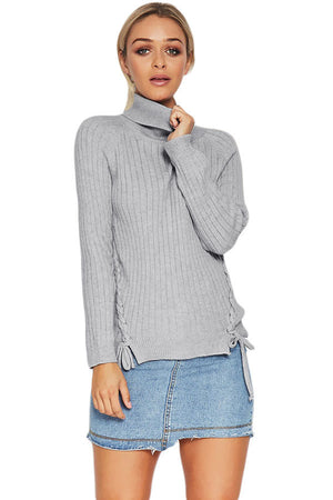 Gray Long Sleeve Turtleneck Braided Sweater