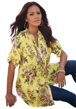 Yellow V Neck Pleat Button Front Floral Tunic Top