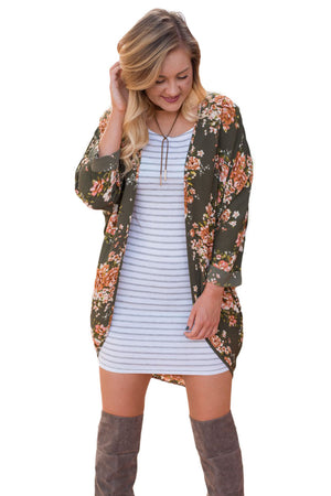 Orange Floral Kimono Cardigan Loose Cover up