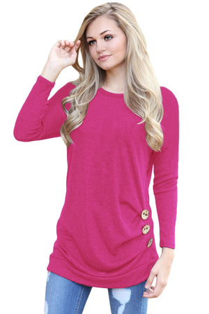 Rosy Buttoned Side Long Sleeve Spring Autumn Womens Top