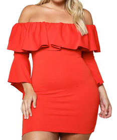Red Plus Size Off Shoulder Layered Ruffle Bodycon Dress