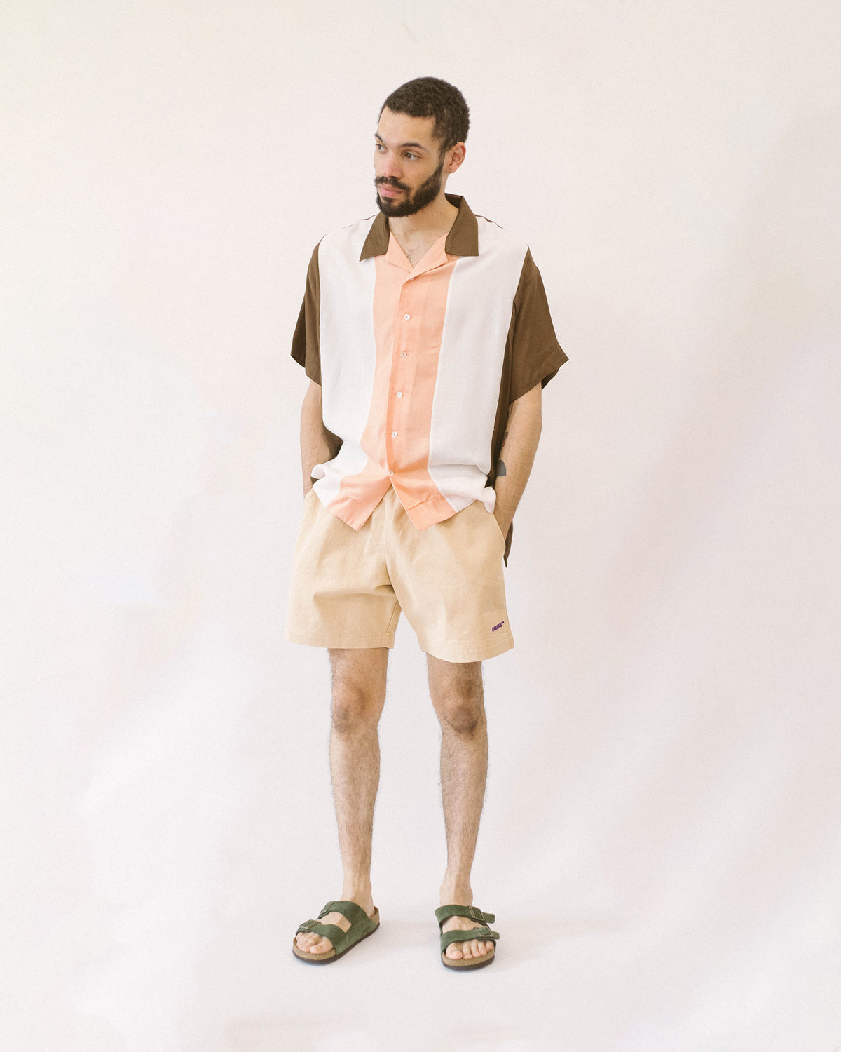 Rayon Bowling Shirt Cocoa/Peach | CHECKS DOWNTOWN