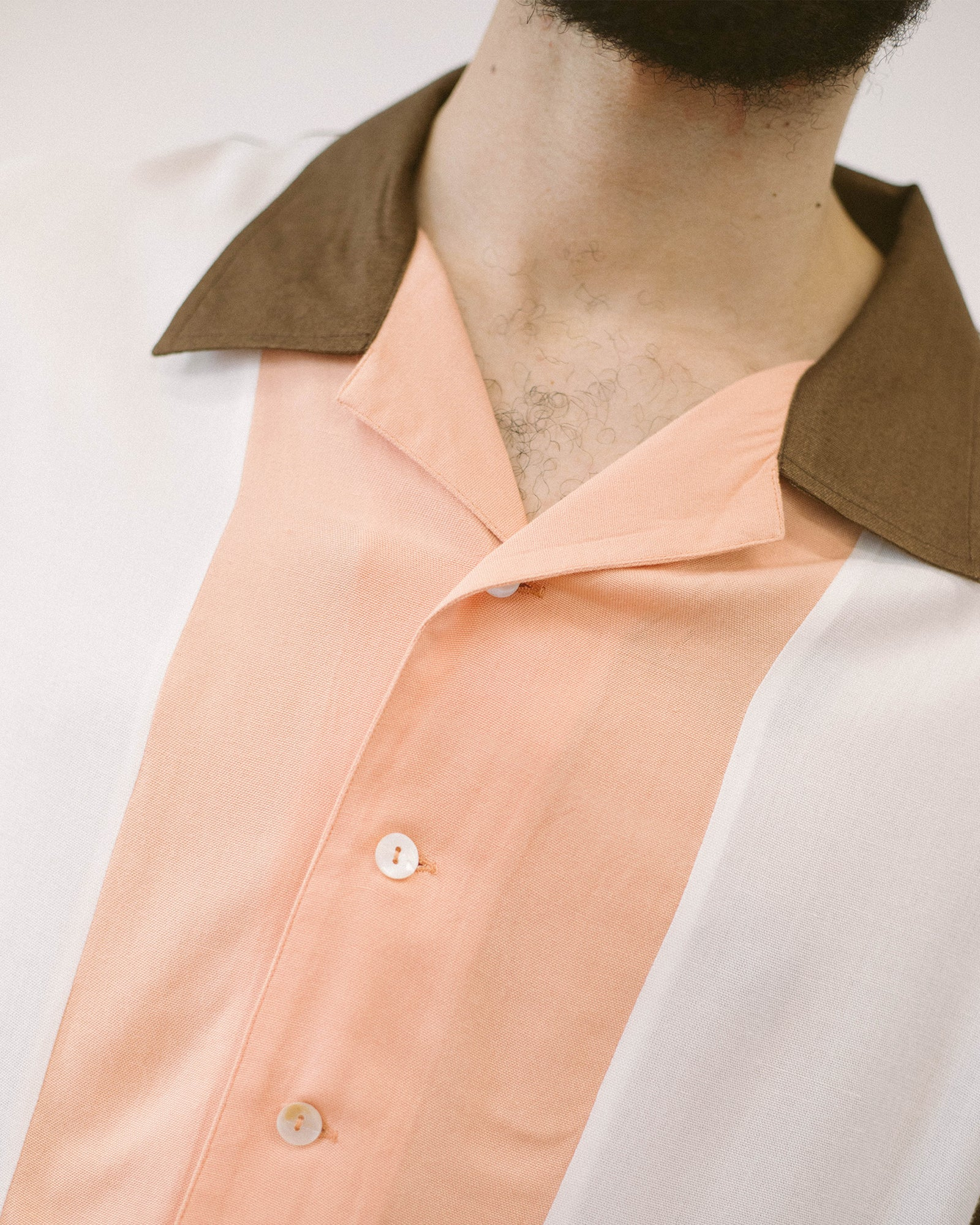 Load image into Gallery viewer, Rayon Bowling Shirt Cocoa/Peach | CHECKS DOWNTOWN