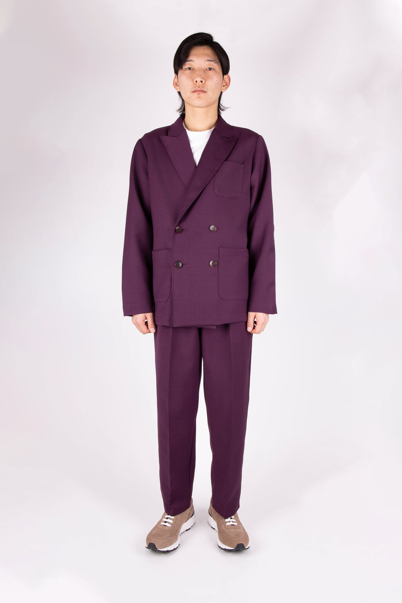 Load image into Gallery viewer, Box Jacket Aubergine Wool | CHECKS DOWNTOWN