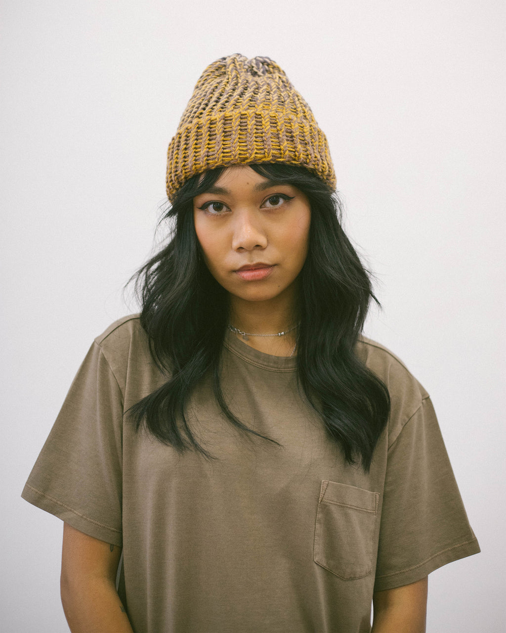 Hand Knitted Beanie Brown Marle | CHECKS DOWNTOWN