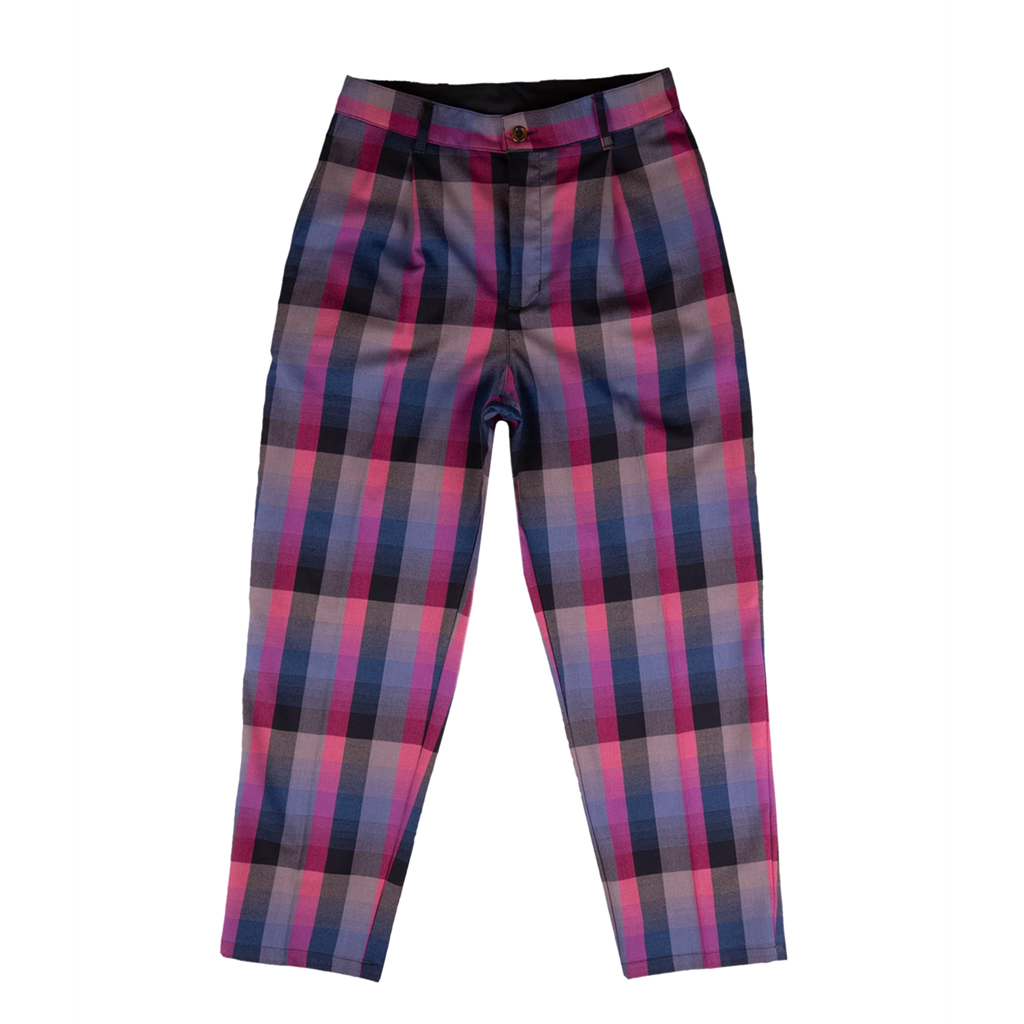 Pleated Slacks Grape Plaid | CHECKS DOWNTOWN  Edit alt text
