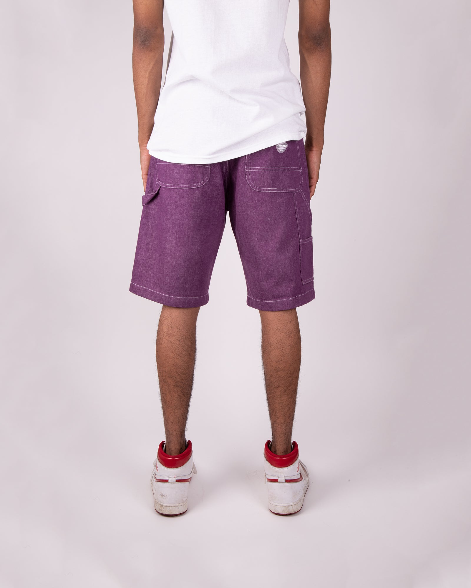 Load image into Gallery viewer, Carpenter Shorts Grape Denim | CHECKS DOWNTOWN
