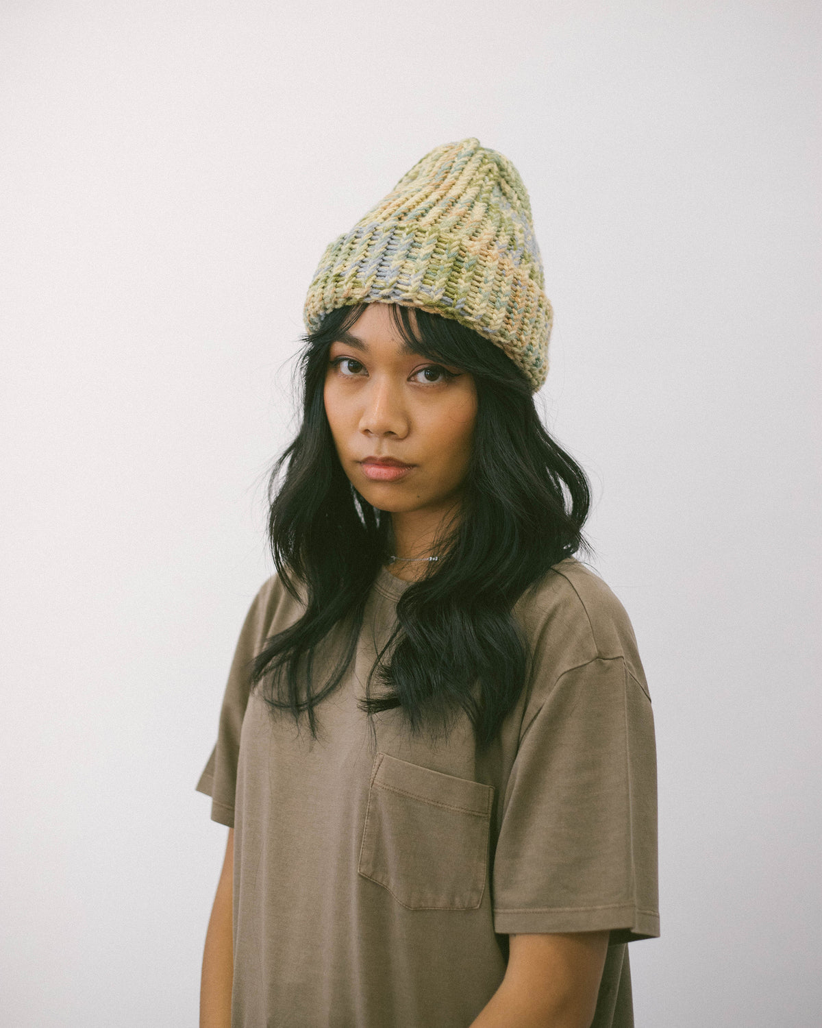 Hand Knitted Beanie Green Marle | CHECKS DOWNTOWN