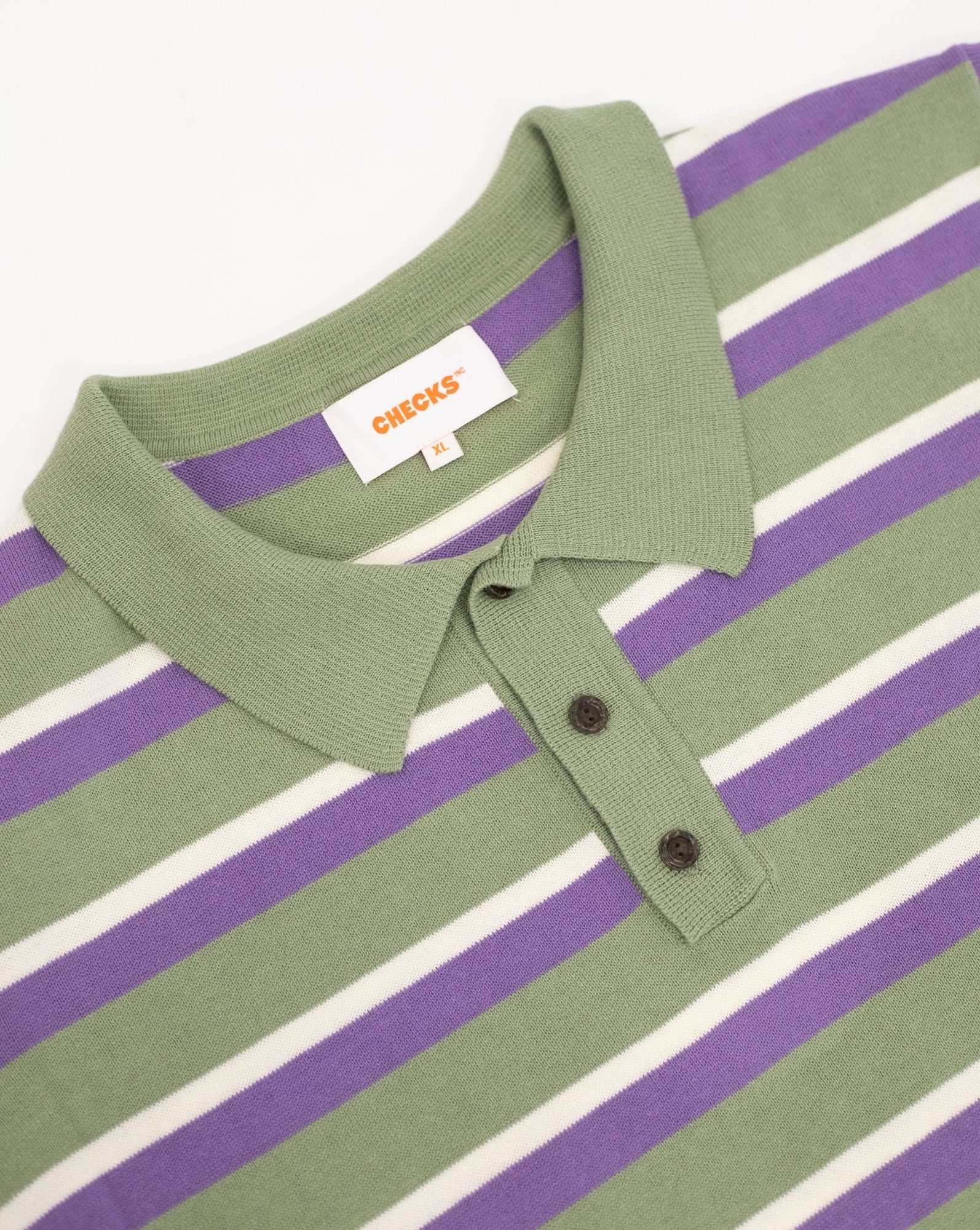 Load image into Gallery viewer, Knit Striped Polo Sage | CHECKS DOWNTOWN