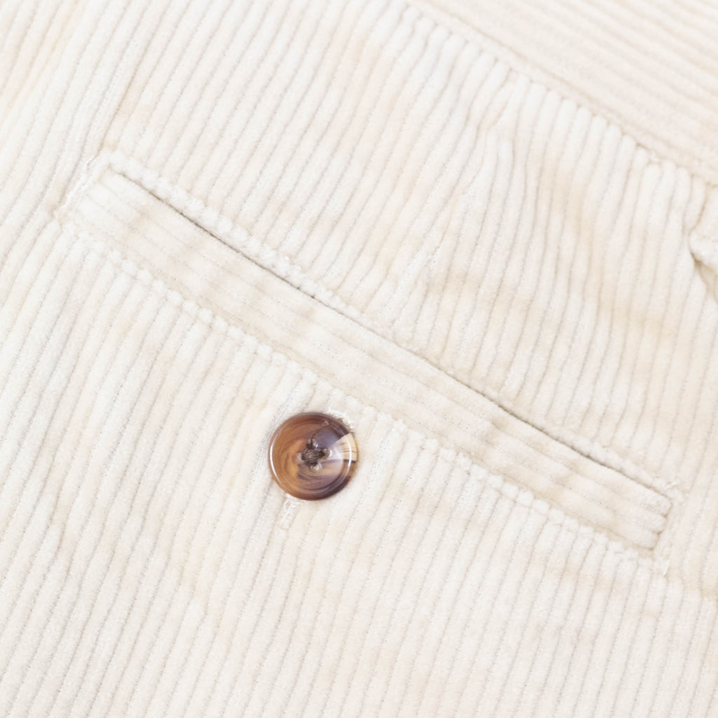 Double Pleat Pants Oatmeal Corduroy | CHECKS DOWNTOWN