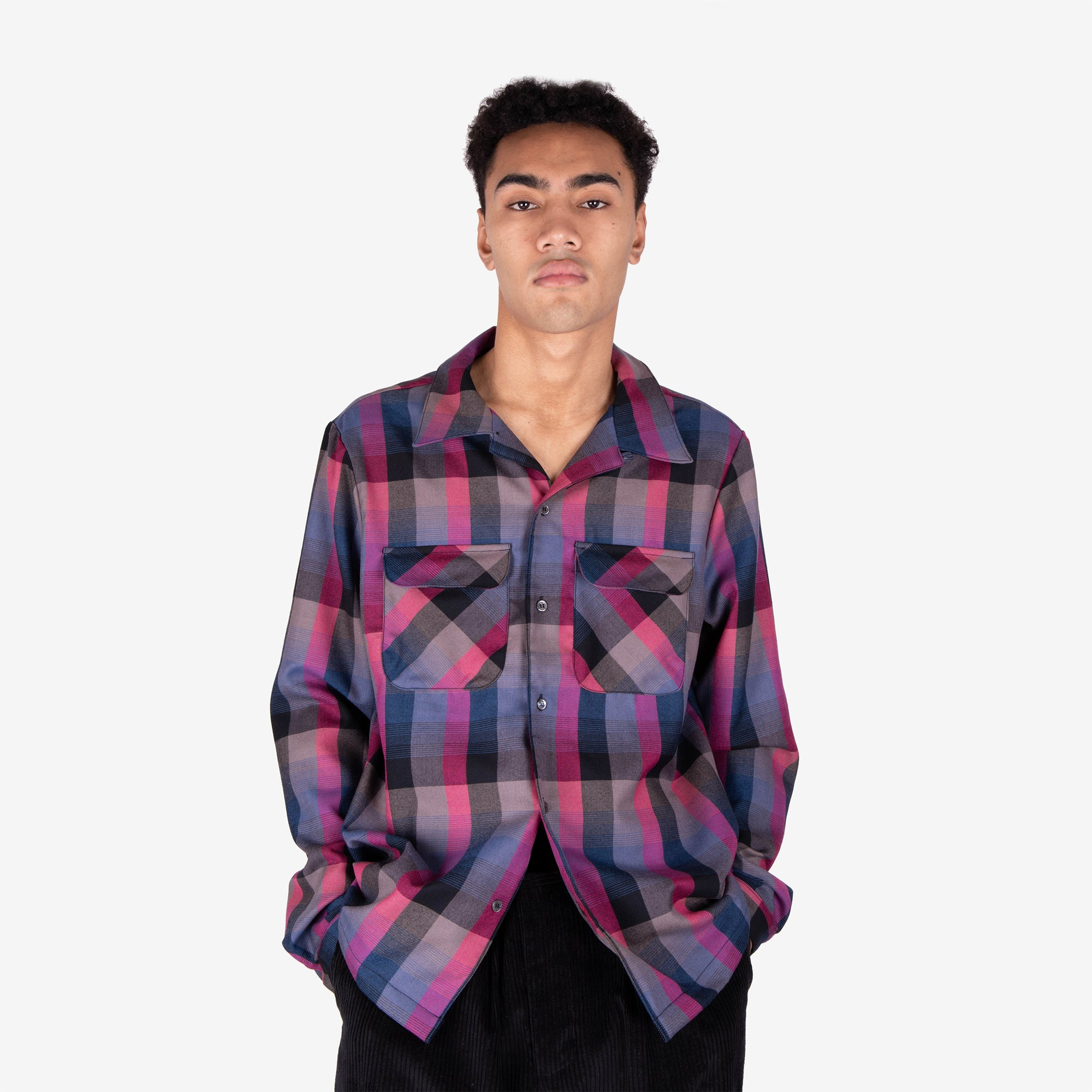 Load image into Gallery viewer, Rockabilly Shirt Grape Plaid | CHECKS DOWNTOWN