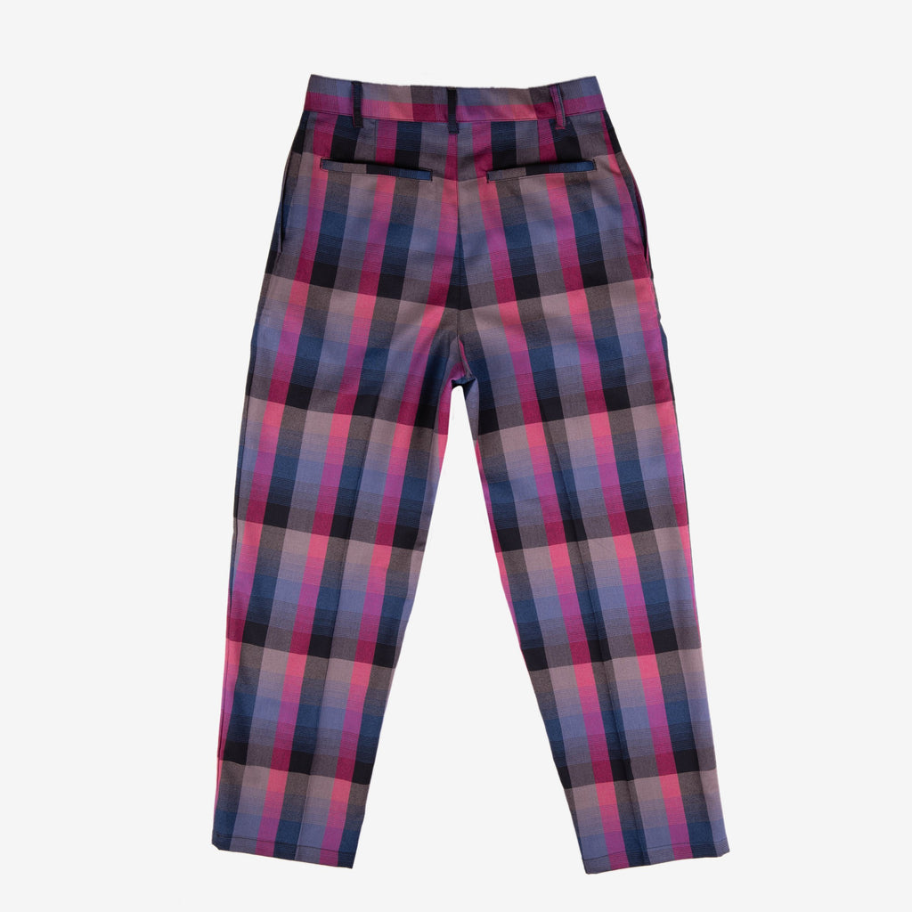 Pleated Slacks Grape Plaid | CHECKS DOWNTOWN