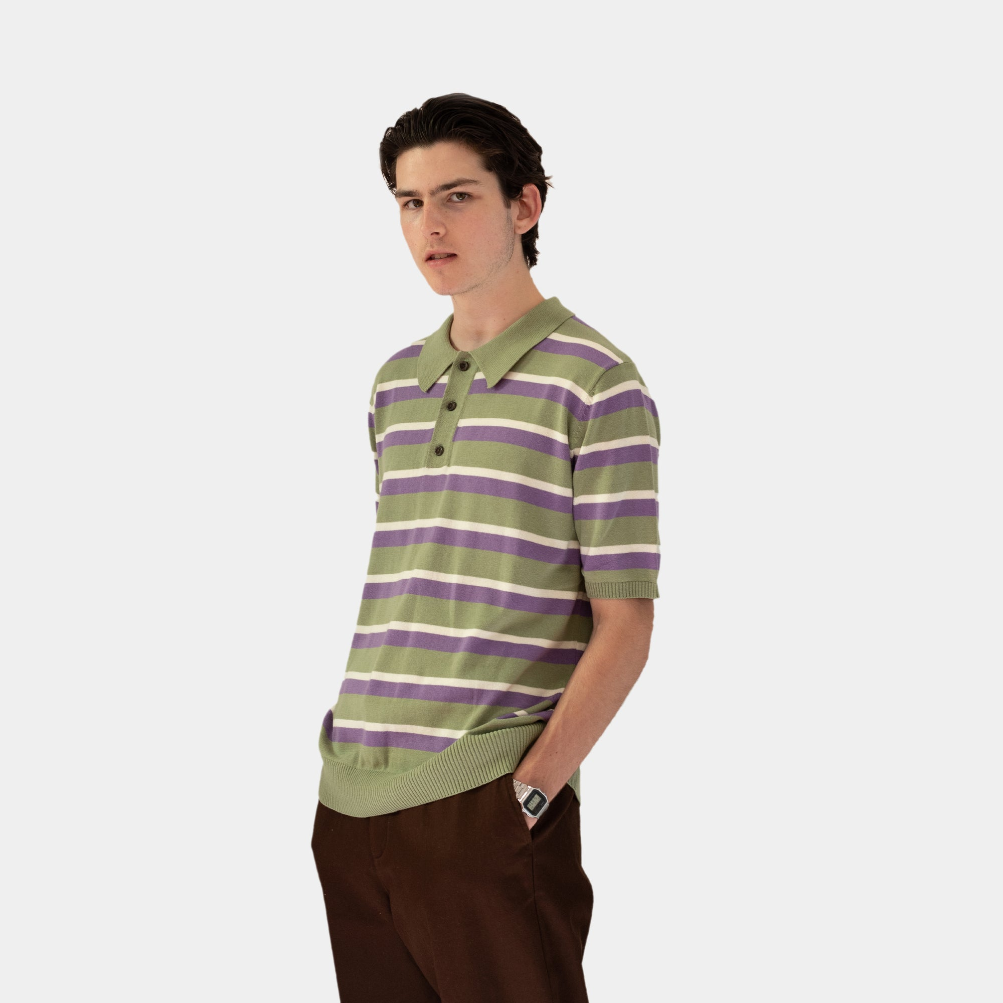 Load image into Gallery viewer, nit Striped Polo Sage | CHECKS DOWNTOWN