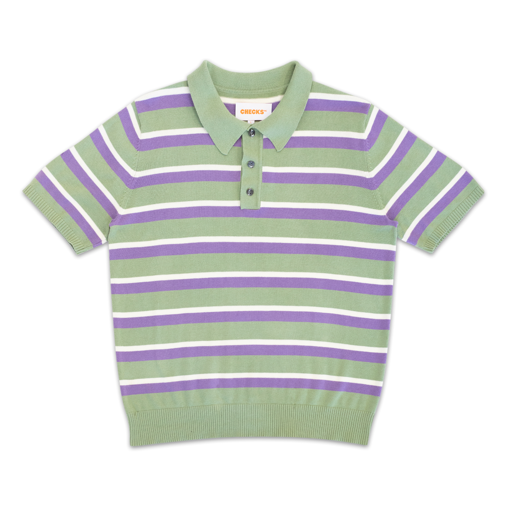 Knit Striped Polo Sage | CHECKS DOWNTOWN