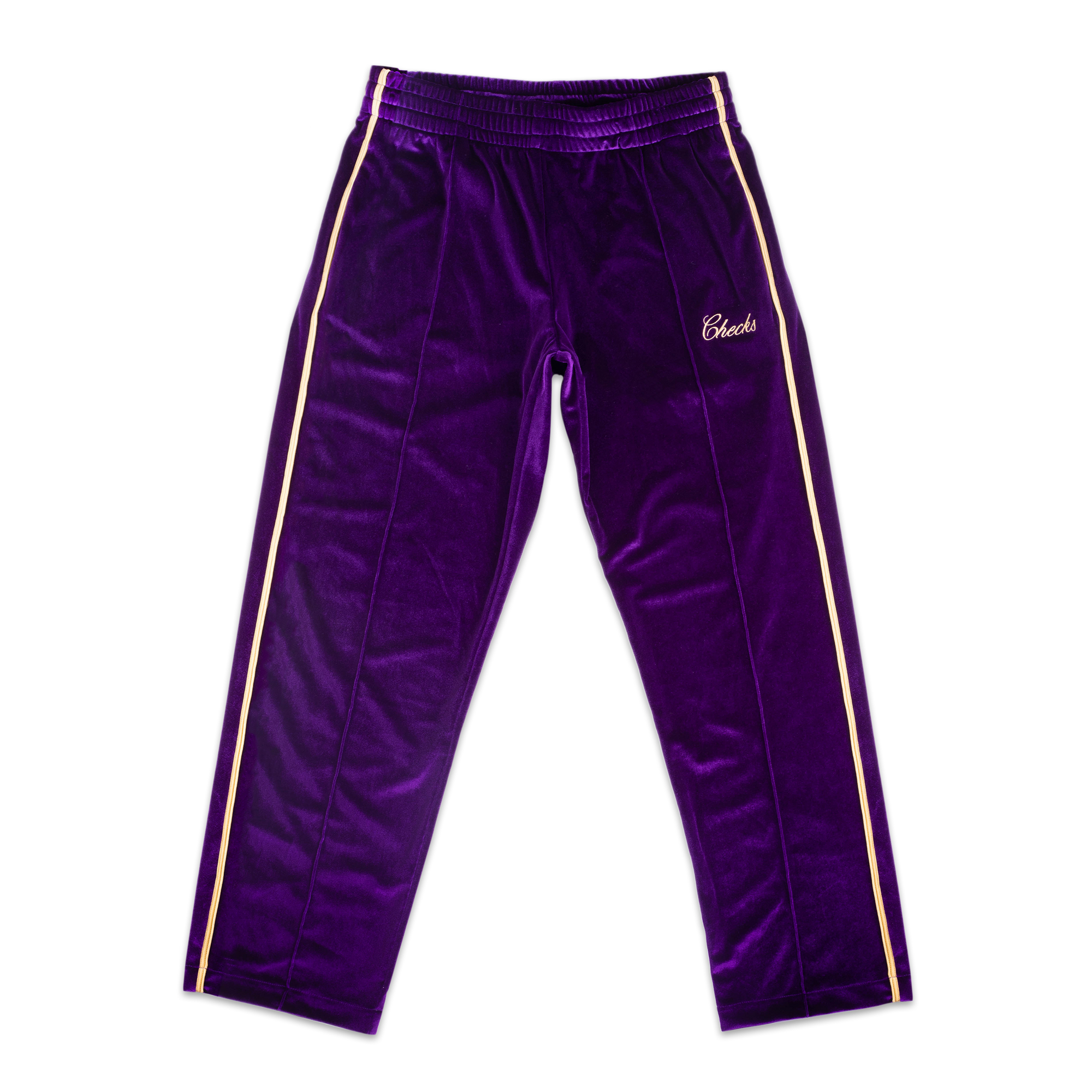 Load image into Gallery viewer, Hustler Track Pants Purple/Gold | CHECKS DOWNTOWN