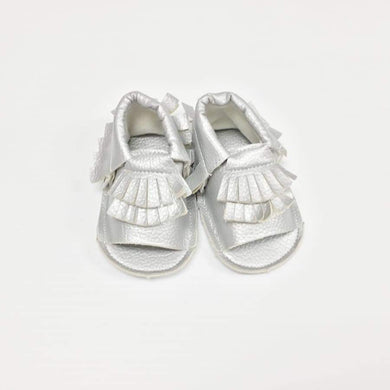 Clearance - Sweet As Sugar Baby Girls Moccasins In Silver - 0-3M - Footwear