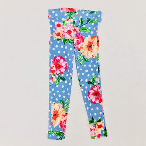 Clearance - Sweet As Sugar Couture Comfort Legging - Scattered Flowers In Blue - 3T - Bottom