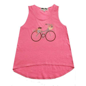 Clearance - Sweet As Sugar Couture Vintage Bicycle Pink Tank - M (9/10Y) - Top