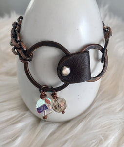 Leather Copper Drop Bracelet