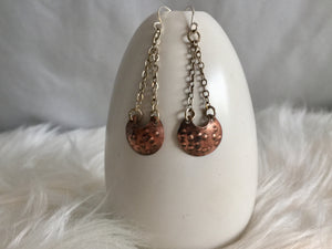 Copper Textured Drop Earrings