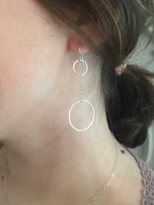 Silver Drop Circle Earrings